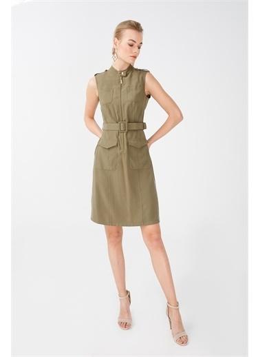 Ekol Ekol Kadın Kolsuz Kemerli Elbise 6055124  Haki
